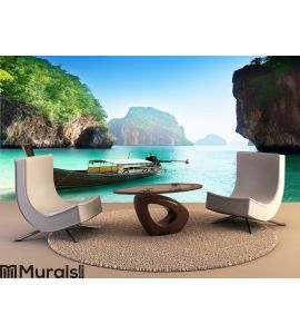 Boat on small island in Thailand Wall Mural
