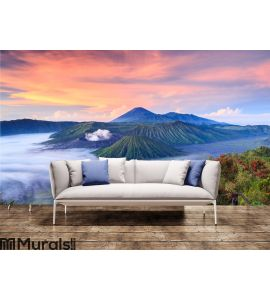 Bromo volcano at sunrise, East Java, , Indonesia Wall Mural