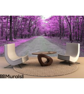 Forest road in autumn Wall Mural Wall art Wall decor