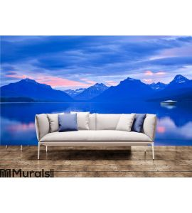 Lone Boat and Sunrise Colors on Calm Mountain Wall Mural Wall art Wall decor
