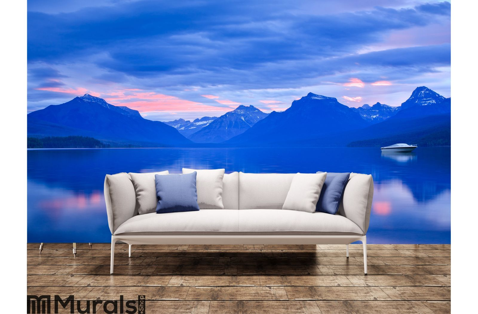 Lone Boat and Sunrise Colors on Calm Mountain Wall Mural
