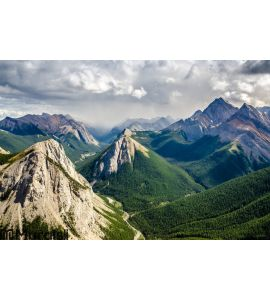 Mountain range landscape view in Jasper Wall Mural