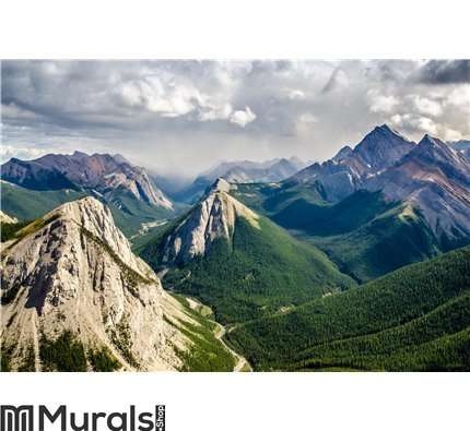 Mountain range landscape view in Jasper Wall Mural Wall art Wall decor