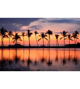 Paradise beach sunset tropical palm trees Wall Mural Wall art Wall decor
