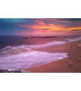 Seaside sunset with colorful cloud Wall Mural