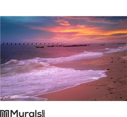 Seaside sunset with colorful cloud Wall Mural Wall art Wall decor