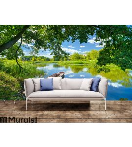 Spring summer landscape blue sky Wall Mural Wall art Wall decor