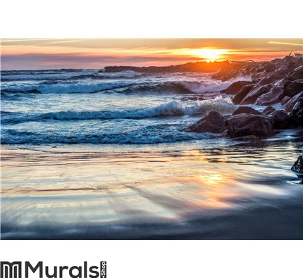 Sunset at rocky ocean jetty Wall Mural Wall art Wall decor