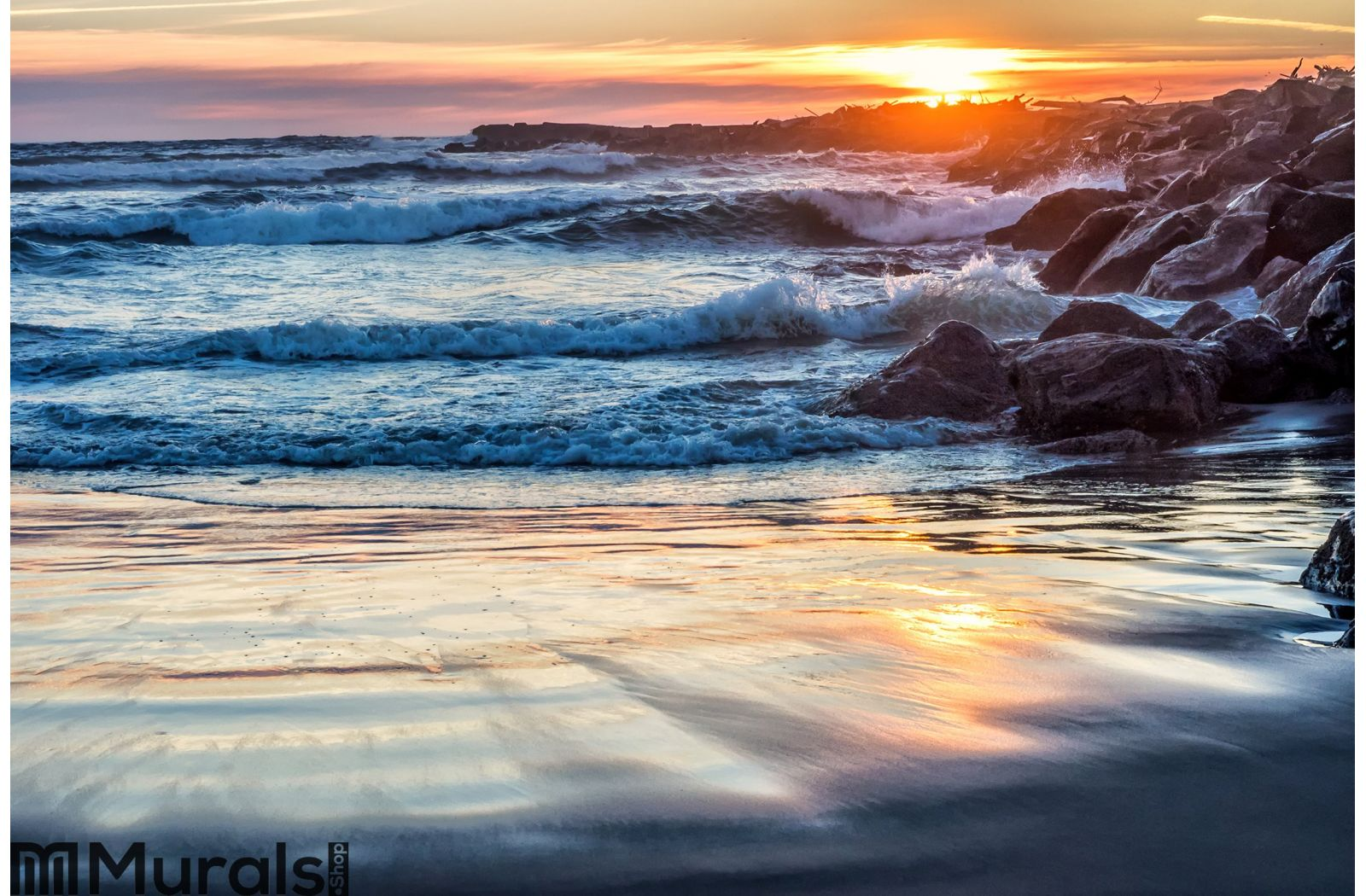 Sunset at rocky ocean jetty wall mural amipublicfo Choice Image