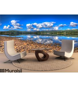 Mountains and lake with clear water Wall Mural Wall art Wall decor