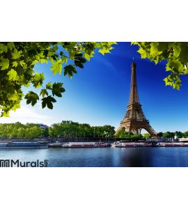 Seine in Paris with Eiffel tower Wall Mural Wall art Wall decor