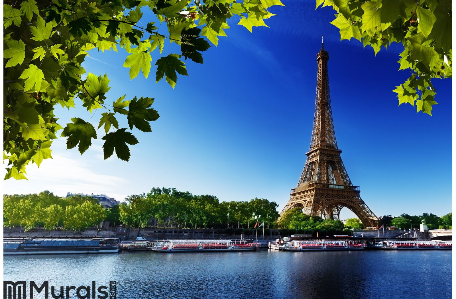 Seine in Paris with Eiffel tower Wall Mural