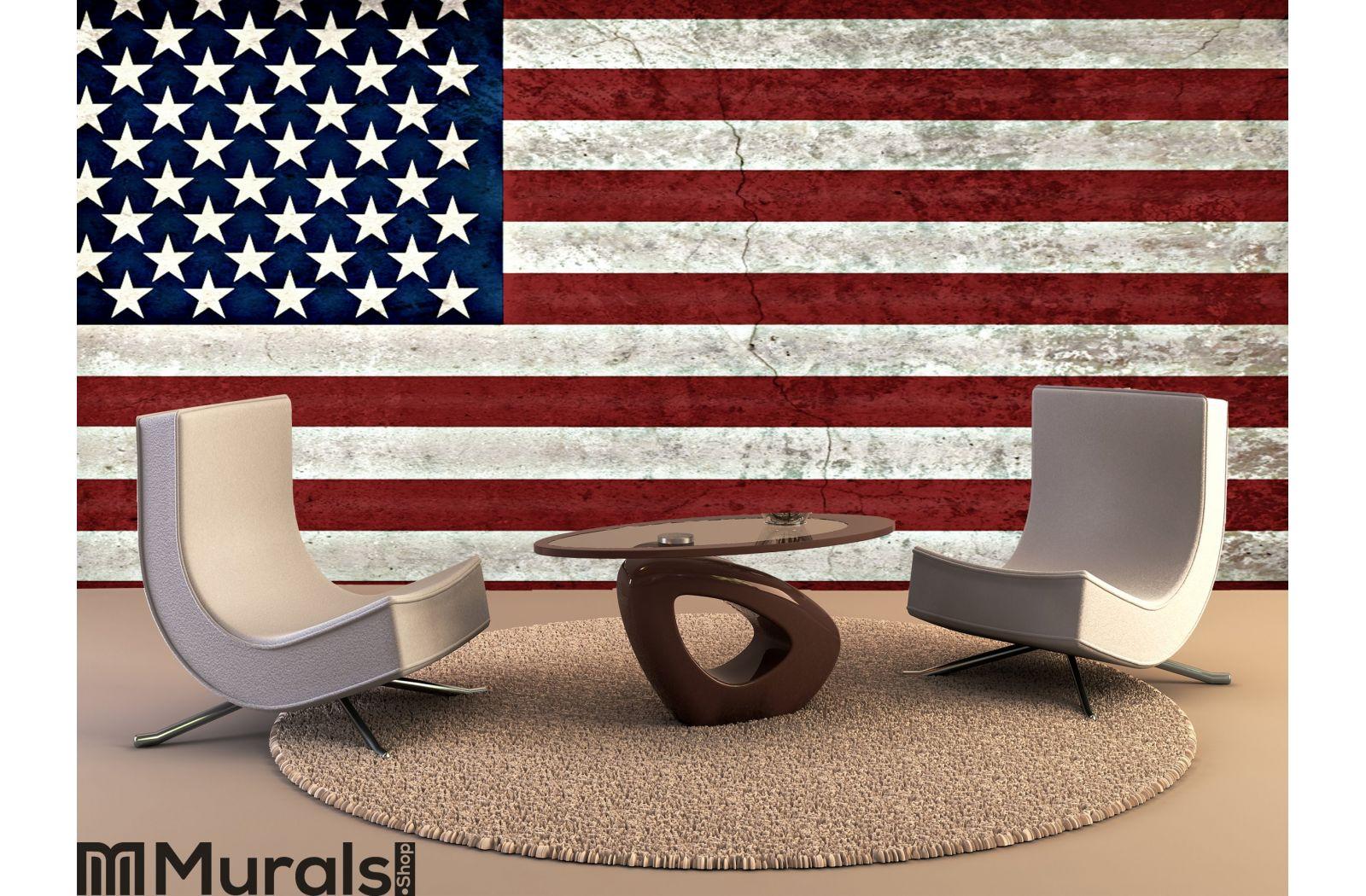 Rustic American Flag Wall Mural
