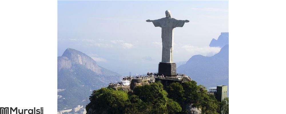 Air view cristo redentor - Rio De Janeiro - Brazil Wall Mural