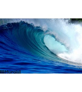 Blue surfing wave Wall Mural