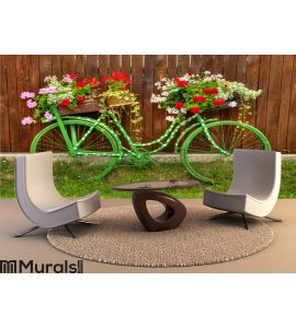 Vintage Bicycle with Flowers Wall Mural Wall art Wall decor