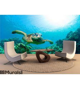 Sea turtle sunburst Wall Mural Wall art Wall decor