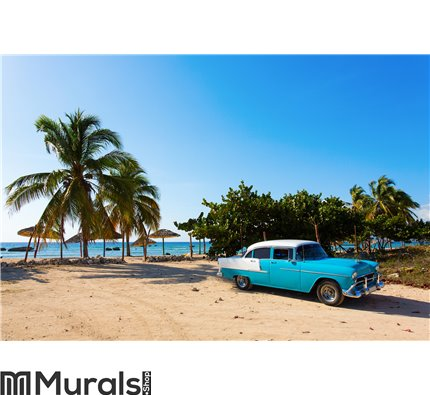 Old classic car on the beach of Cuba Wall Mural Wall Tapestry tapestries