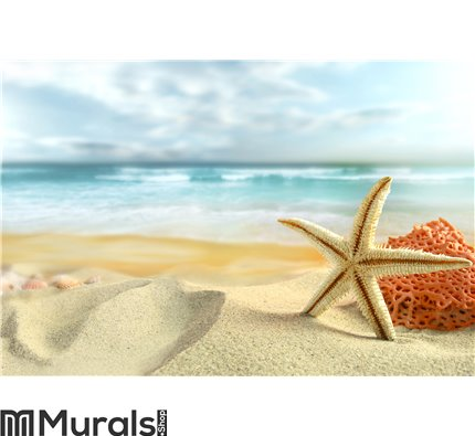 Starfish on the Beach Wall Mural Wall Tapestry tapestries
