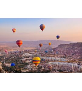 Hot air balloon flying over Cappadocia Turkey Wall Mural Wall Tapestry tapestries