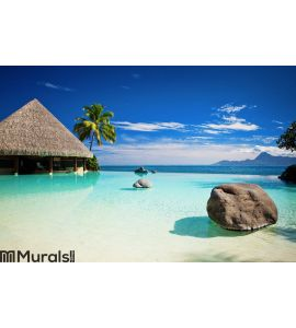 Ocean Wall Mural pool with artificial beach and ocean wall mural