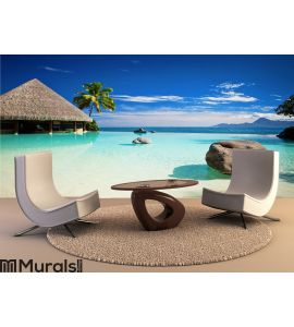 Infinity pool with artificial beach and ocean Wall Mural