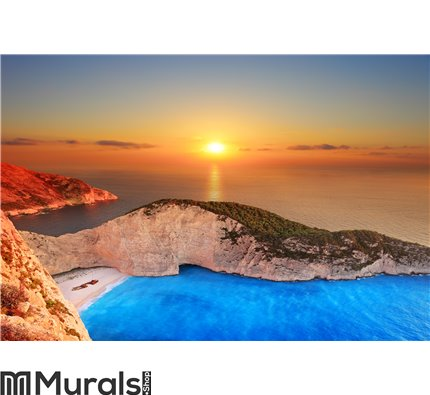Sunset over Zakynthos Wall Mural Wall Tapestry tapestries