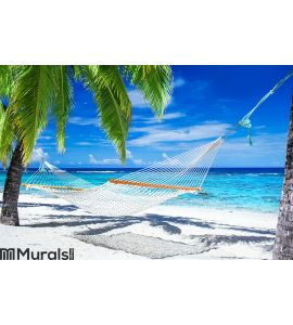 Hammock between palm trees on tropical beach Wall Mural
