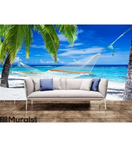 Hammock between palm trees on tropical beach Wall Mural Wall Tapestry tapestries