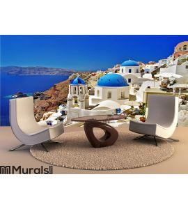 Vacations in Santorini Wall Mural Wall Tapestry tapestries