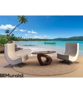 Boat on turquoise Caribbean sea Wall Mural Wall Tapestry tapestries