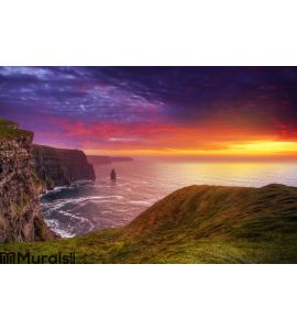 Amazing sunset at Cliffs of Moher Wall Mural Wall Tapestry tapestries