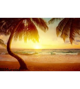 Art Beautiful Sunrise Over The Tropical Beach Wall Mural ...