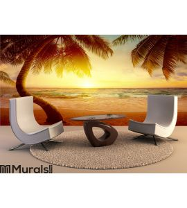 ... Art Beautiful Sunrise Over The Tropical Beach Wall Mural