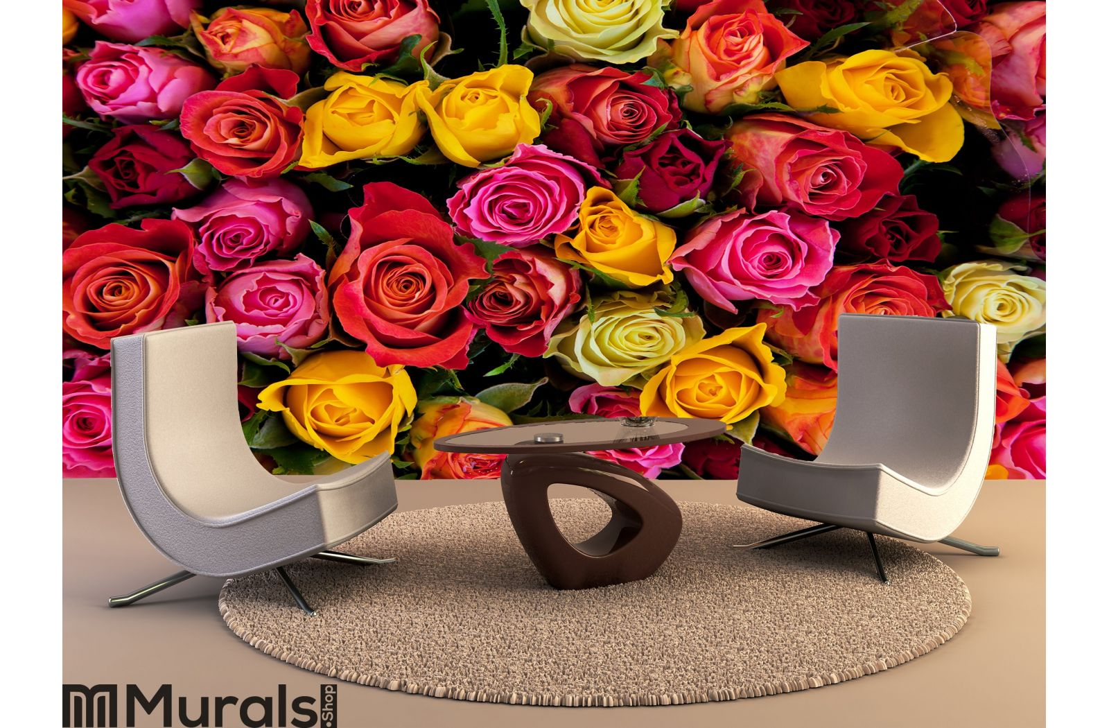 colorful roses background wall mural