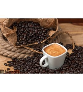 Espresso and Coffee Beans Wall Mural