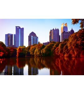 Fall sunset in midtown Atlanta Wall Mural
