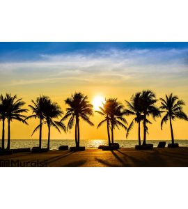 Fantastic Tropical Beach With Palms At Sunset Wall Mural ... Part 50