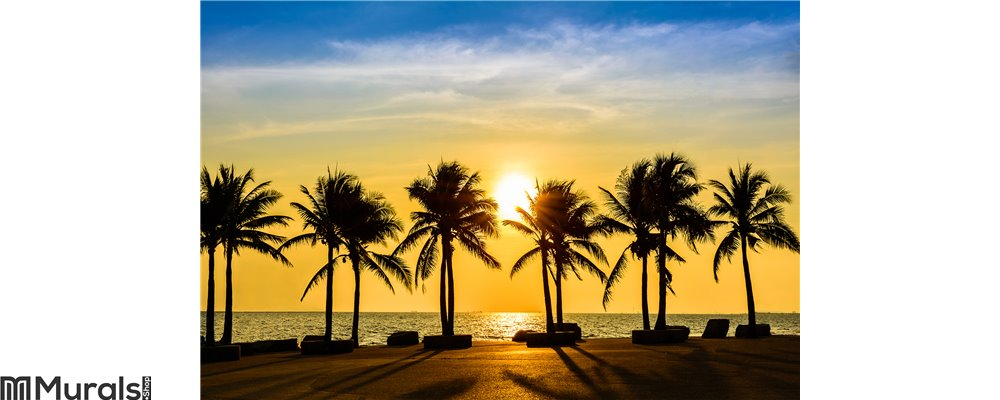 Fantastic tropical beach with palms at sunset Wall Mural