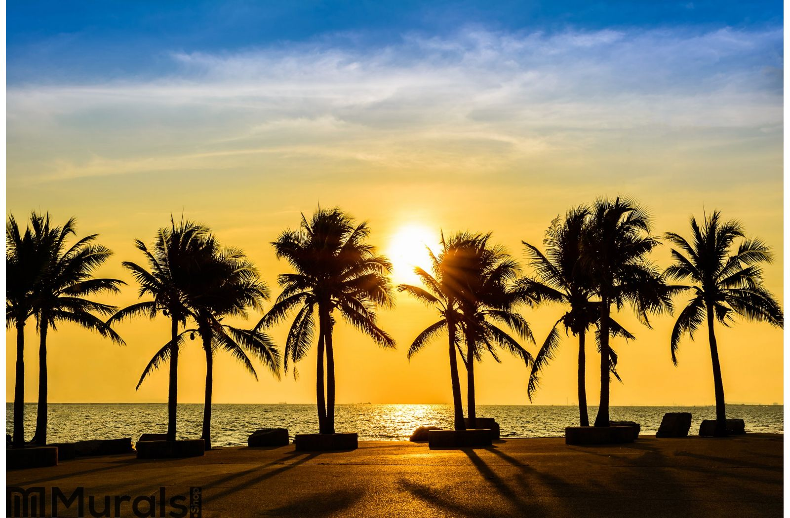 Fantastic tropical beach with palms at sunset wall mural for Beach sunset mural