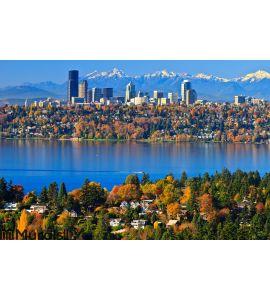 Gorgeous autumn scenery @ Bellevue Washington Wall Mural
