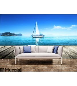 Yacht and wooden platform Wall Mural Wall art Wall decor