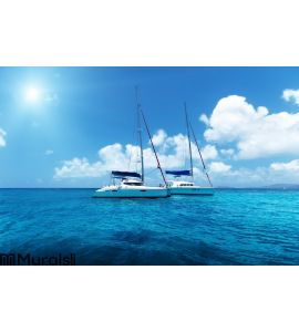 Yacht Sailing on water of ocean Wall Mural