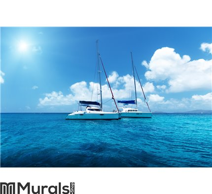 Yacht Sailing on water of ocean Wall Mural Wall art Wall decor