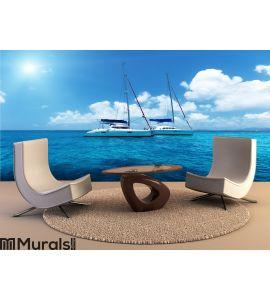 Yacht Sailing on water of ocean Wall Mural Wall art Wall decor