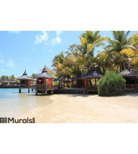 Mauritius Beach Huts Wall Mural