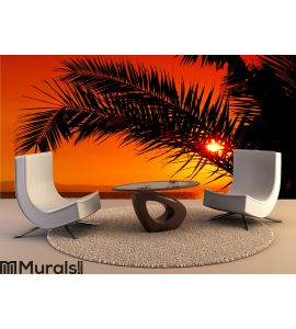 Palm tree during sunset Wall Mural Wall art Wall decor