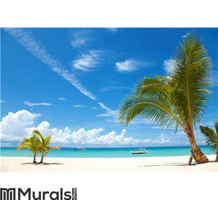 Palm trees on a tropical beach Wall Mural Wall art Wall decor