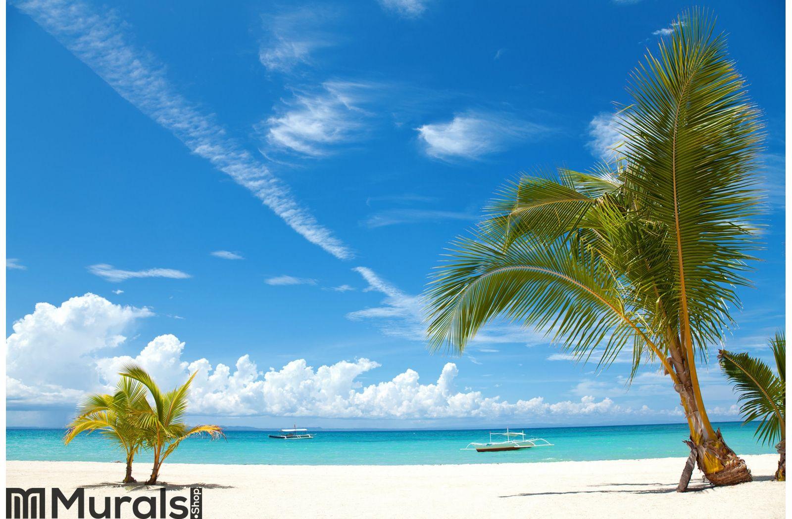 Palm trees on a tropical beach Wall Mural