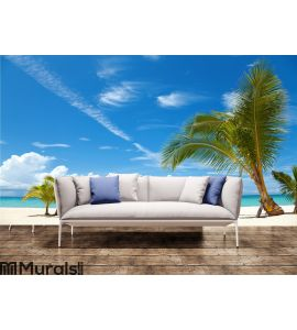 Palm trees on a tropical beach Wall Mural